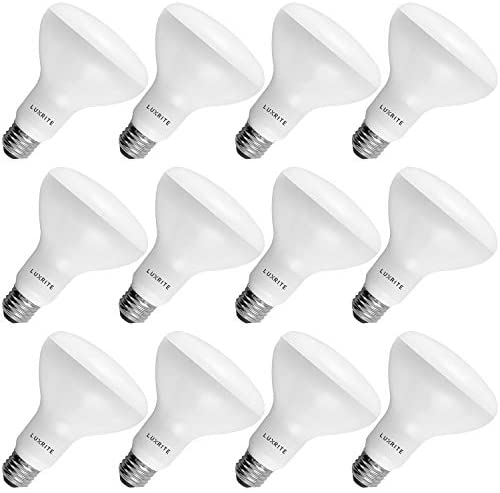 12-Pack BR30 LED Bulb, Luxrite, 65W Equivalent, 2700K Warm White, Dimmable, 650 Lumens, LED Flood Light Bulbs, 9W, Energy Star, E26 Medium Base, Damp Rated, Indoor/Outdoor – Living Room and Kitchen