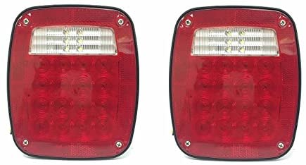MAXXHAUL 80685 Universal Square 12V Combination 38 LED Signal Tail Light – for Truck, Trailer, Boat, Jeep, SUV, RV, Vans, Flatbed,2 Pack, Regular