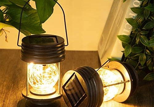 pearlstar Solar Lanterns Outdoor – Hanging Solar Landscape Lights Waterproof Table Lamps with Retro Design, LEDs Fairy String Lights for Patio, Garden, Yard, and Pathway Decoration(2 Pack)
