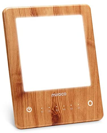 Miroco Light Therapy Lamp, LED Bright Therapy Light – UV Free 10000 Lux, Timer Function, Touch Control with 6 Adjustable Brightness Levels, Standing Bracket, for Home/Office Use(Wood Grain)