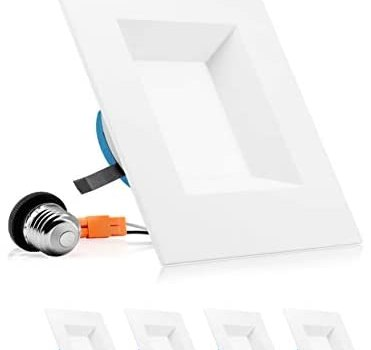 PARMIDA 6 inch Dimmable LED Square Recessed Retrofit Lighting, Easy Downlight Installation, 12W (100W Eqv.), 950lm, Ceiling Can Lights, Energy Star & ETL-Listed, 5 Year Warranty, 5000K – 4 Pack