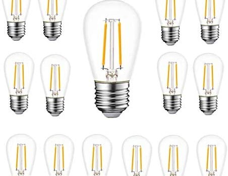 WinsaLED Shatterproof S14 Bulb 2W LED Filament Plastic for Outdoor Patio String Light Bulb Replacement, 2700K Warm White, E26 Medium Base, Pack of 15