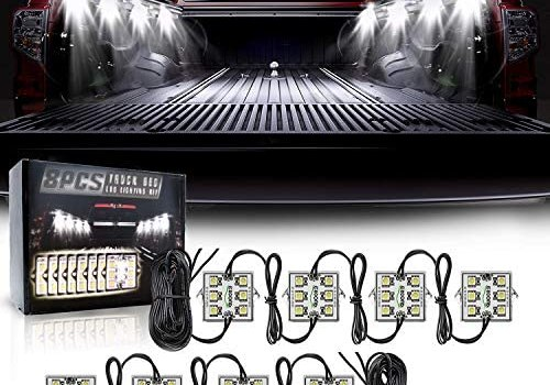 8PCS LED Truck Pickup Bed Lights Kit, 48 LEDs Truck Cargo Pickup Bed Lighting Kit with Switch, IP68 Waterproof for truck Bed, Under Car, Rail Light Cargo