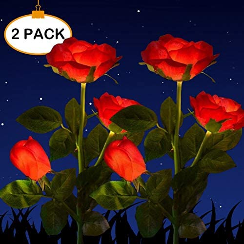 Solar Powered Garden Decorations Lights, LED Rose Flower Garden Decorative Stake Lights for Garden, Courtyard, Backyard Decoration, Waterproof (Red)