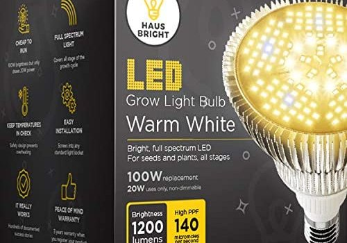 LED Grow Light Bulb – for Indoor Plants Full Spectrum Lamp | Seed Starting, House, Garden, Vegetable, Succulent, Hydroponic, Greenhouse & Medicinal Growing | 100W E27 Warm White by Haus Bright