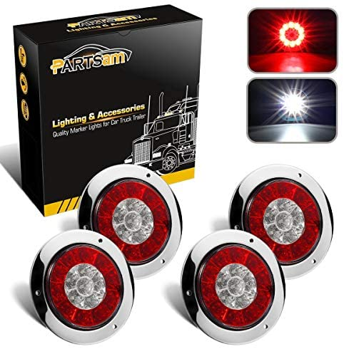 Partsam 4Pcs 4 Inch Round LED Trailer Tail Lights White Red Flange Mount w Reflectors 16 LED DC 12V Sealed Waterproof Stop Brake Tail Running Reverse Backup Lights Lamps for RV Trailer Trucks