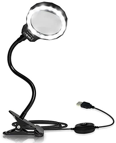 Number-One Magnifying Glass, 3X LED Lighted Magnifying Lamp USB Powered Clip On Optical Glass Magnifier Lens with 2 Light Settings & Metal Clamp for Reading, Hobby, Soldering, Crafts