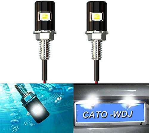 CATO 2PCS Motorcycle License Plate Light, Safety Tail light, License Tag Screw bolt Bulb, Waterproof, 12V White Blue LED Bulb 5050 SMD, Legal for Bike Motorcycle RV ATV Snowmobile Truck,Cars