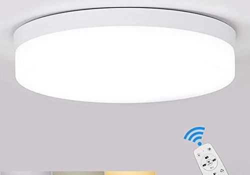 DLLT Dimmable Led Flush Mount Ceiling Light Fixture-18W Stylish Flat Round Surface Downlight Lamp for Bathroom/Closet/Bedroom/Dining Room/Kids Room Lighting with Remote Control