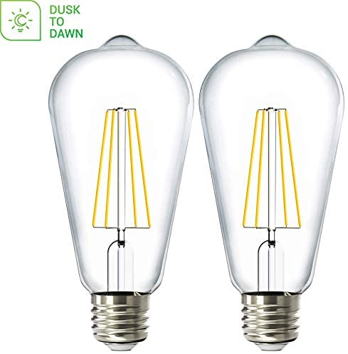 Sunco Lighting 2 Pack ST64 LED Bulb, Dusk-to-Dawn, 7W=60W, 5000K Daylight, Vintage Edison Filament Bulb, 800 LM, E26 Base, Outdoor Decorative String Light – UL Listed