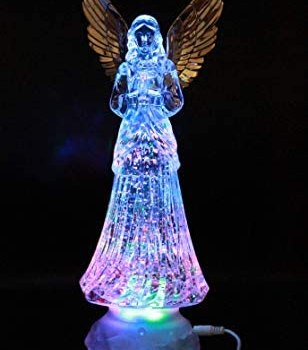 """Crystal Angel LED Lighted Sparkling Multi-Color Changing Figurines 12"""" Prayer Angel Statues Home Decorative/Decor Figurine Faith-Hope- Love-Peace Angels Wings Statue XMAS Ornaments Decorations"""