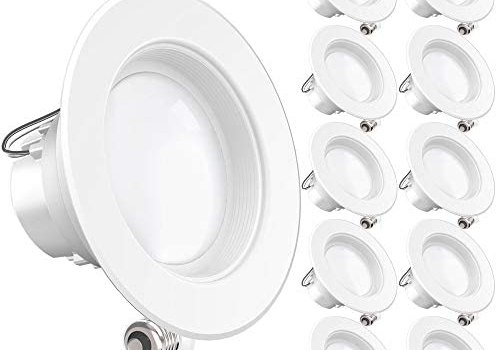 Sunco Lighting 10 Pack 4 Inch LED Recessed Downlight, Baffle Trim, Dimmable, 11W=60W, 6000K Daylight Deluxe, 660 LM, Damp Rated, Simple Retrofit Installation – UL + Energy Star