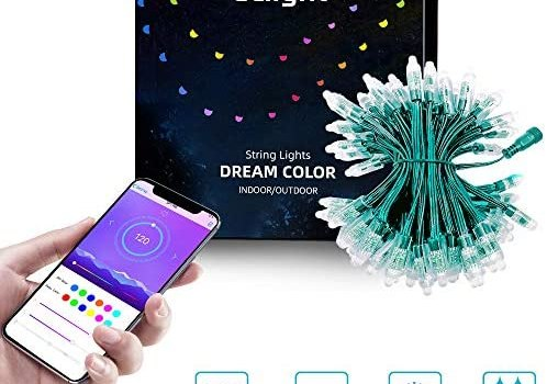 ELlight Outdoor String Lights 35ft 100LED, Dream Color Patio Lights with APP, Waterproof Color Changing LED String Lights for Christmas Wedding Party