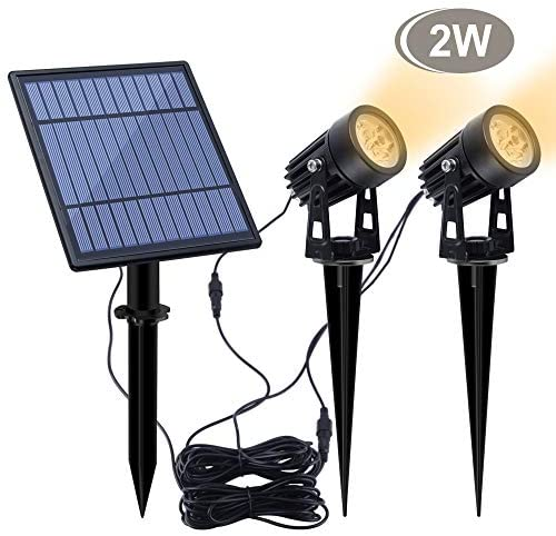 APONUO Led Solar Spotlights 2W Solar Powered Landscape Lights Outdoor Spotlights Low Voltage IP65 Waterproof 16.4ft Cable Auto On/Off for Outdoor Garden Yard Landscape Downlight Warm White