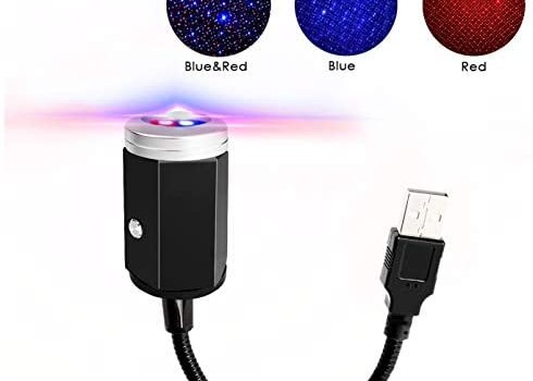 N / A USB Car Roof Star Projector Night Light LED Interior Lamp, 3 Colors – 7 Lighting Effects, Adjustable Romantic Decoration Laser Strip Atmosphere Ambient Light- Plug and Play (Blue & Red)