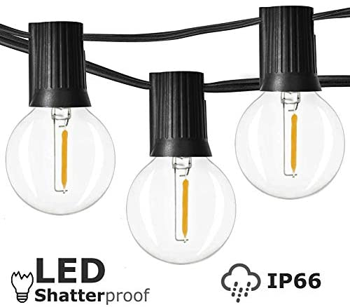 Newpow Outdoor String Lights LED 25ft with 25+1 Spare Bulbs, Dimmable Shatterproof Waterproof – Clear Plastic, 1W 60LM 2200K Warm Glow for Indoor/Outdoor Decoration and Lighting -Black Wire