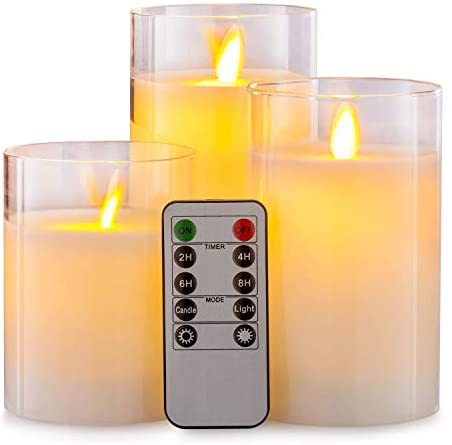 Aku Tonpa Flameless Candles Battery Operated Pillar Real Wax LED Glass Candle Sets with Remote Control Cycling 24 Hours Timer, 4″ 5″ 6″ Pack of 3