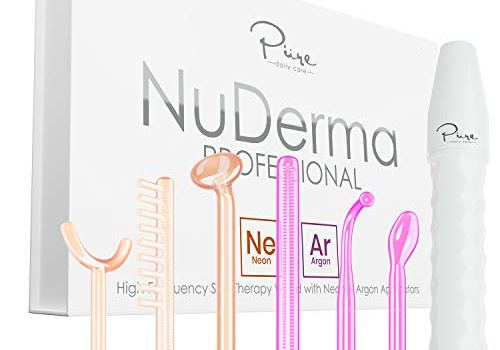 NuDerma Professional Skin Therapy Wand – Portable Handheld High Frequency Skin Therapy Machine with 6 Neon & Argon Wands – Acne Treatment – Skin Tightening – Wrinkle Reducing – Facial Skin Lifter
