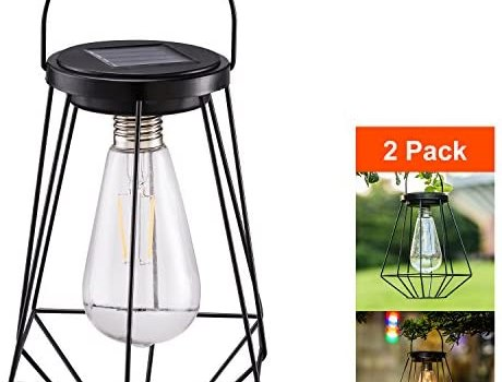 Outdoor Solar Lanterns Lamps – 2 Pack Tabletop Filament LED Edison Bulbs Hanging Solar Powered Garden Decorative Table Lights for Patio Backyard Courtyard Lawn Landscape Décor (ST64 Filament Bulb)