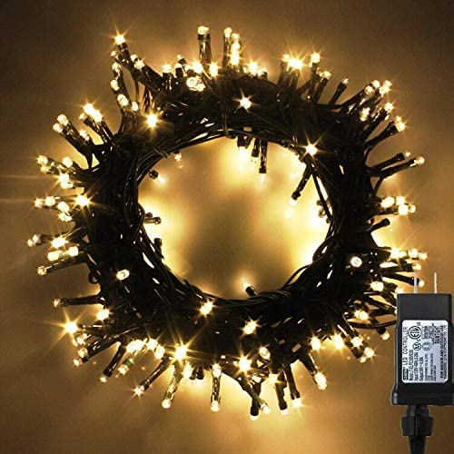 Indoor/Outdoor LED Christmas Lights on Dark Green Cable with 8 Light Effects, Low Voltage Fairy String Lights, Ideal for Festival Decoration, Garden, Xmas Tree, Room, Party, Wedding (1000LEDs, Warm)