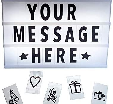 Cinema Light Box with Bold Letters | LED Light Up Sign with 96 Letters and Changeable Characters | Customizable Cinematic Marquee Sign | A4 Size | White Portable Decorative Message Gift with USB Cable