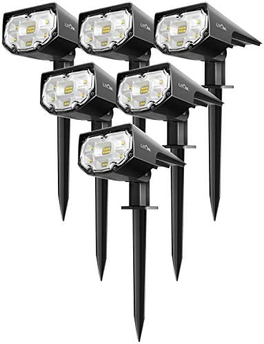 LITOM 12 LEDs Solar Landscape Spotlights, IP67 Waterproof Solar Powered Wall Lights 2-in-1 Wireless Outdoor Solar Landscaping Light for Yard Garden Driveway Porch Walkway Pool Patio 6 Pack Cold White