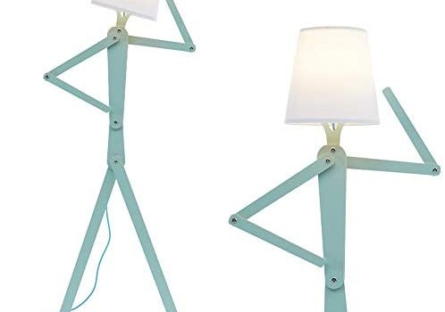 HROOME Cool Tall Decorative Floor Lamp Standing Lights Adjustable Corner Reading for Kids Bedroom Office Wooden Swing Arm Lamps – LED Bulb Included (Green)