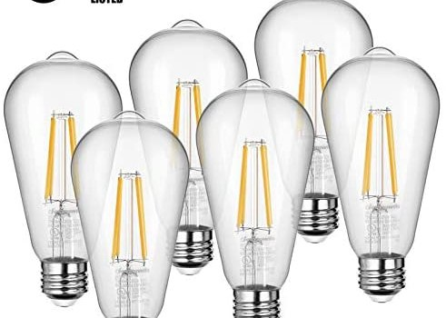 DEWENWILS 6-Pack LED Vintage Light Bulb, Dimmable E26 Edison Bulb, 2700K Warm White, 7W(60W Equivalent), 800 Lumen, ST64 LED Filament Bulbs, Clear Glass, UL Listed