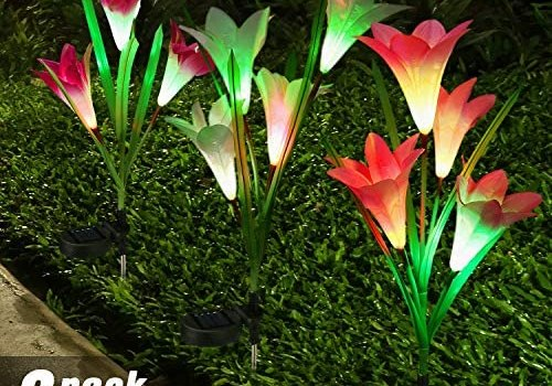 BrizLabs Outdoor Solar Garden Stake Lights, 3 Pack Color Changing Solar Flower Lights, Waterproof LED Lily Decorative Lights Solar Landscape Lights for Garden, Pathway, Yard, Walkway, Porch Decoration