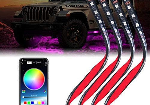 JP-Technology LED Car Underglow Lights,4pcs App Control Car Exterior Neon Lights,8 Color Sync to Music Waterproof Car Underbody Light for Offroad Truck Cars(2 x 24 inch + 2 x 35 inch)