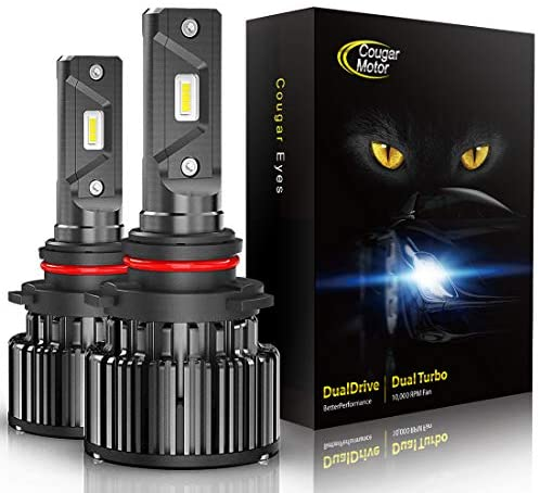 CougarMotor LED Headlight Bulbs All-in-One Conversion Kit – 9006-10000Lm 6000K Cool White CREE