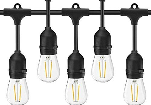Banord 2 Pack LED 48FT Outdoor String Lights, Commercial Grade Patio Lights Dimmable Waterproof Hanging Lights with 2W S14 Edison Bulbs and E26 Socket for Deckyard Cafe Porch Party Decor