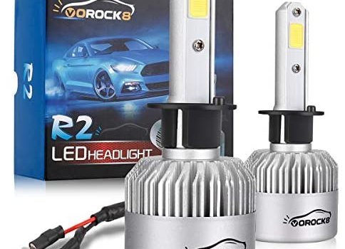 VoRock8 R2 COB H1 8000LM Led Headlight Conversion Kit, High Beam Bulb, Low Beam Headlamp, Fog Driving Light, Halogen Head Light Replacement, 6500K Xenon White, 1 Pair