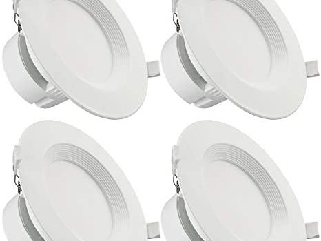 TORCHSTAR 9W 6 Inch LED Recessed Ceiling Light with Junction Box, (80W Eqv.), Dimmable Downlight Fixture, Airtight & IC Rated, UL Listed, Wet Location, 2700K Soft White, 5-Year Warranty, Pack of 4