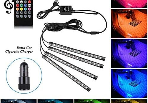 Car Interior Led Lights,4pcs 72 LED DC 12V Multicolor Music Car LED Strip Light Under Dash Lighting Kit with Sound Active Function and Wireless Remote Control-Smart USB Port & Extra Car Charger