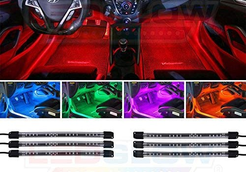 LEDGlow 6pc Flexible Million Color Multi-Color LED Interior Footwell Underdash Neon Lighting Kit for Cars & Trucks – 15 Solid Colors – 10 Unique Patterns – Music Mode – Includes Control Box & Remote
