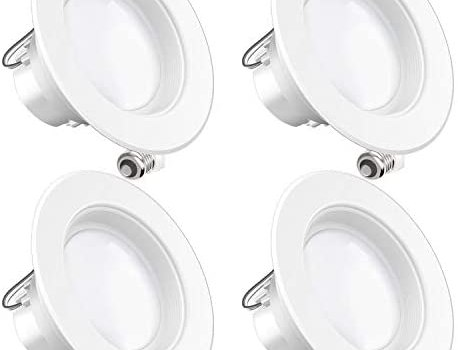 Sunco Lighting 4 Pack 4 Inch LED Recessed Downlight, Baffle Trim, Dimmable, 11W=60W, 6000K Daylight Deluxe, 660 LM, Damp Rated, Simple Retrofit Installation – UL + Energy Star