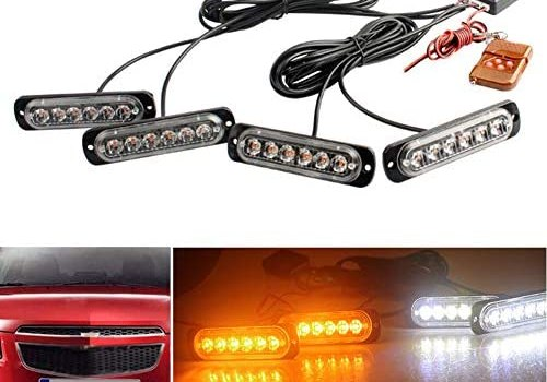 LED Emergency Strobe Warning Light BaishenglinMotor 4x 6 LED 4 in 1 12V Sync Flashing Surface Mount Grill Beacon Lamp Police Light with Wireless Remote For Truck Trailer Caravan Van Amber White