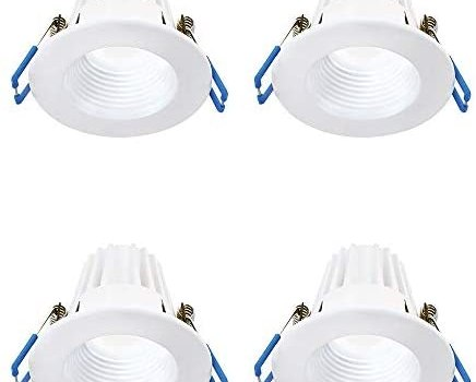 Lightolier (Pack of 4) 3″ 8W Round 3000K, 90CRI, White Recessed Mini Downlight, Easy to Use and Install, Save Time and Energy, Reduced Glare