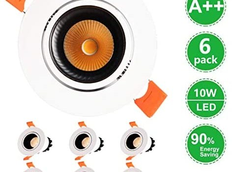 10w Bathroom Downlights Ceiling Round Led Ceiling Recessed Lights 6 Pack Not Dimmable Round Cut Out Φ90mm to 100mm Aluminum for Bathroom Living Room Kitchen [Energy Class A+] (Color : Warm Light)