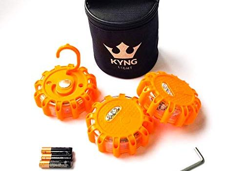 KYNG LED Road Flares 3-Pack Includes Duracell Batteries- Magnetic Emergency Beacon, Safety Light Kit for Automotive, Roadside, Car, Boat, Snow, Recreational, Flashing Warning Light Disc