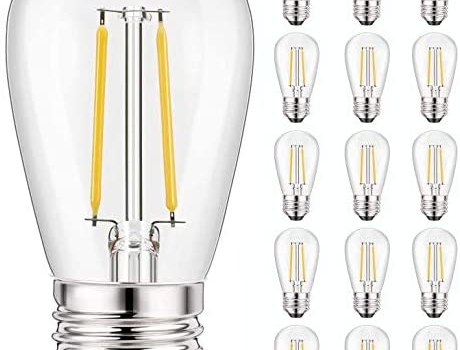 Svater 15 Pack S14 Replacement Bulb, Led 2W Dimmable Warm White 2700K E26 Base, Waterproof Clear Glass Edison Bulbs for Outdoor String Light