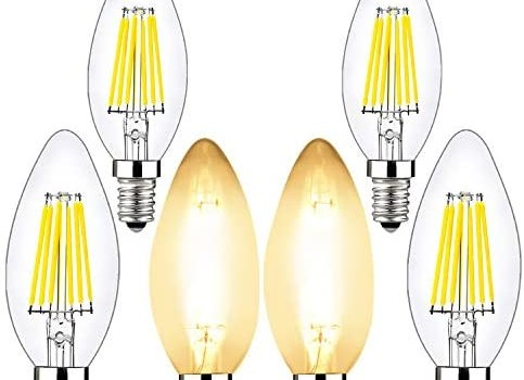 6w Candelabra Led Bulbs Dimmable, BRIMAX E12 Chandelier Light Bulb, 2700K Warm Whit Glow, B10/B11 Filament Led Candle Light Bulbs for Foyer Chandeliers, Celling Fans and Other Wall Fixtures,6 Pack