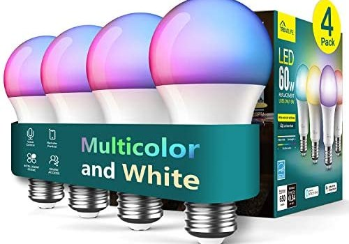 Treatlife Smart Light Bulb 4 Pack, Dimmable Multicolor and White LED Bulb, Works with Alexa, Google Assistant, A19 E26 8W (60W Equivalent), No Hub Required