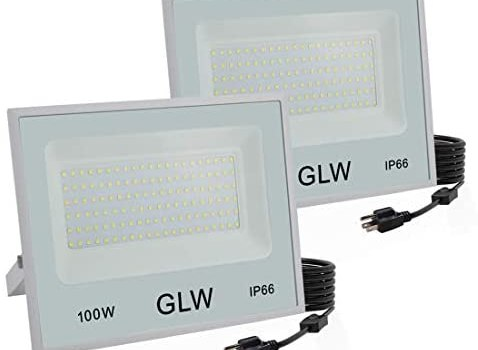 GLW 100W LED Flood Lights,Outdoor Super Bright Security Lights,6000k 10000LM Daylight White with Plug,IP66 Waterproof Outside Work Light for Playground,Garage,Yard and More [2 Pack]