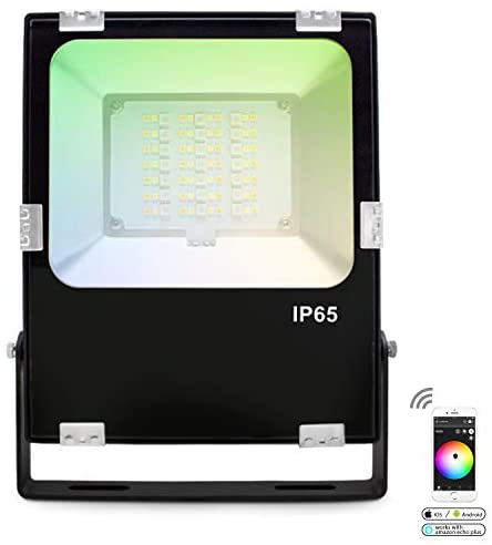 Gledopto Zigbee LED Flood Light, 30W Super Bright 2500LM LED Security Lights Outdoor, 6500K White Light, IP65 Waterproof Phone App Controller RGB Floodlight Great for Garage Parking (Without Plug)