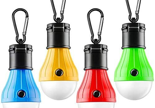 FLY2SKY Tent Lamp Portable LED Tent Light 4 Packs Clip Hook Hurricane Emergency Lights LED Camping Light Bulb Camping Tent Lantern Bulb Camping Equipment for Camping Hiking Backpacking Fishing Outage