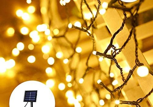 2-Pack Each 72ft 200 LED Solar Lights Outdoor String, Super Bright Waterproof Outdoor Solar Lights, Solar Powered Fairy Lights for Garden Patio Yard Wedding Party Decorations (Warm White)