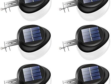 Solar Gutter Lights, Newest 9 LED Outdoor Fence Light Waterproof Wall Lamps for Garden Patio Driveway Deck Stairs – White Light, Pack of 6
