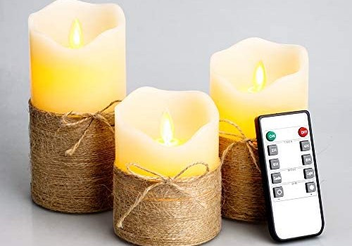Flickering Flameless Candles, 4″ 5″ 6″, Set of 3 – Battery Operated Electric Pillar Candles with Timer and Remote Control, Real Wax LED Candles with Realistic Moving Wick Dancing Flame (Ivory White)